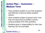 action plan outcomes medium term
