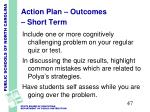 action plan outcomes short term