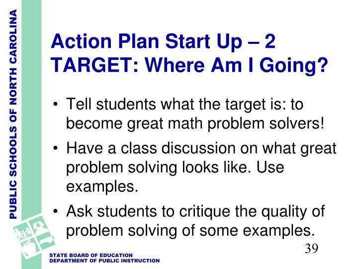 Action Plan Start Up – 2 TARGET: Where Am I Going?