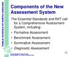 components of the new assessment system