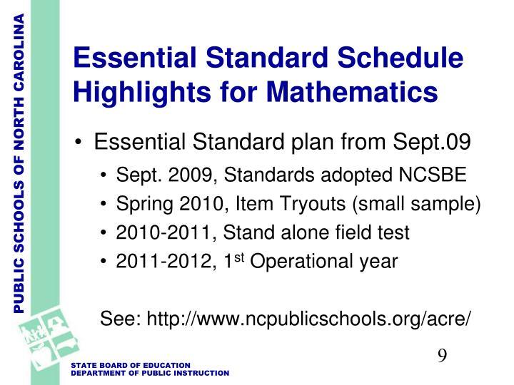Essential Standard Schedule Highlights for Mathematics