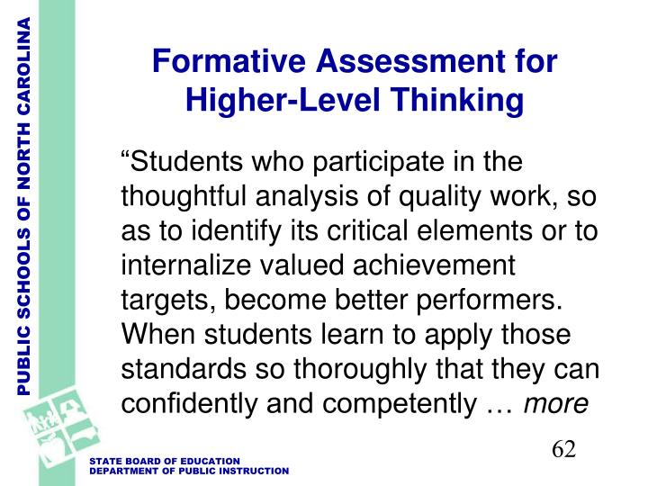Formative Assessment for Higher-Level Thinking