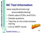 nc test information