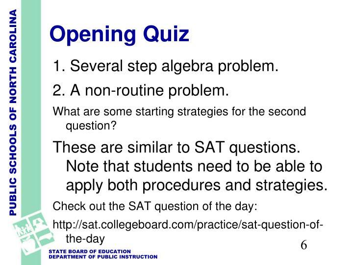 Opening Quiz