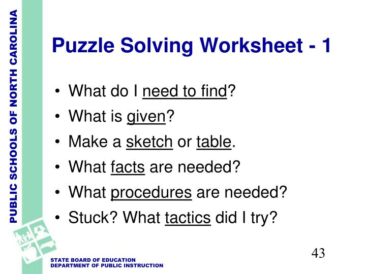 Puzzle Solving Worksheet - 1