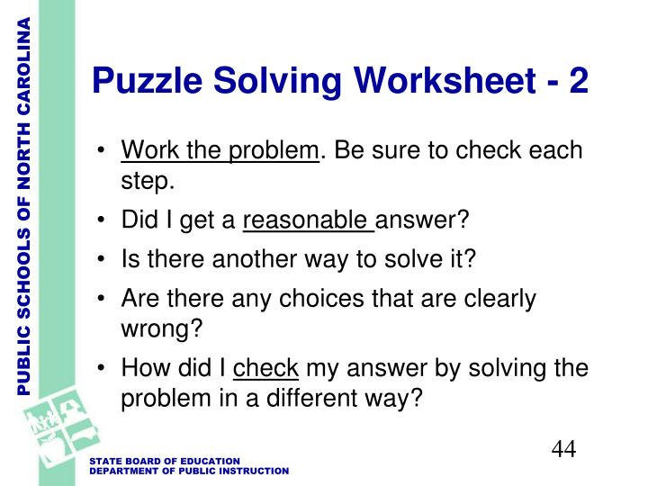 Puzzle Solving Worksheet - 2
