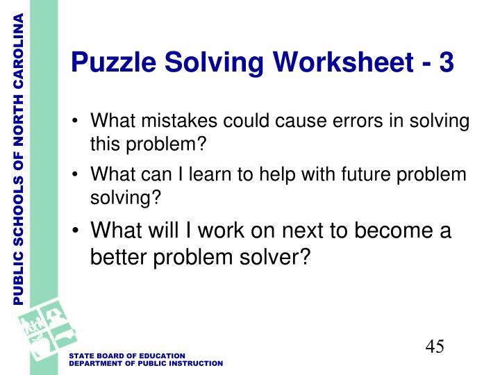 Puzzle Solving Worksheet - 3