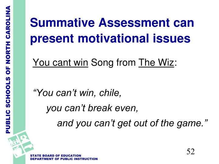 Summative Assessment can present