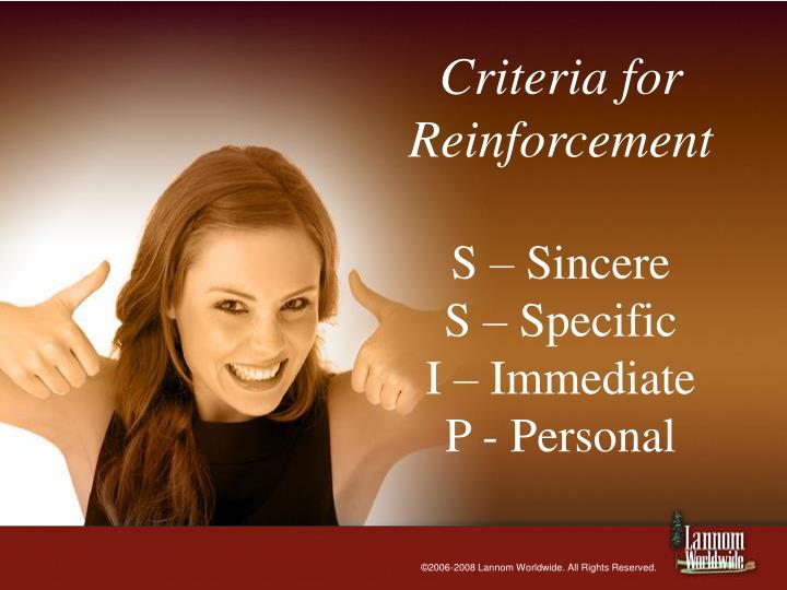 Criteria for