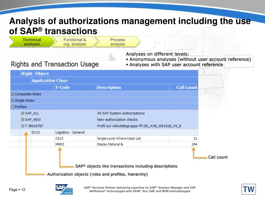 Analysis of authorizations management including the use of SAP