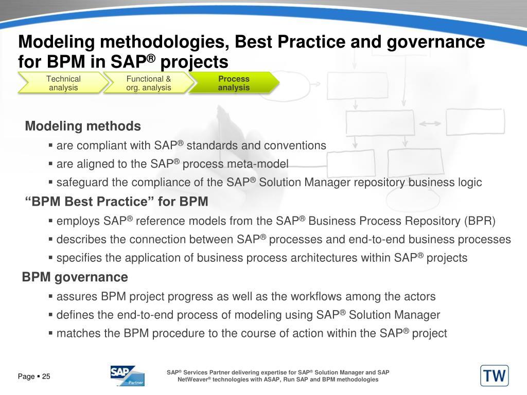 Modeling methodologies, Best Practice and governance for BPM in SAP