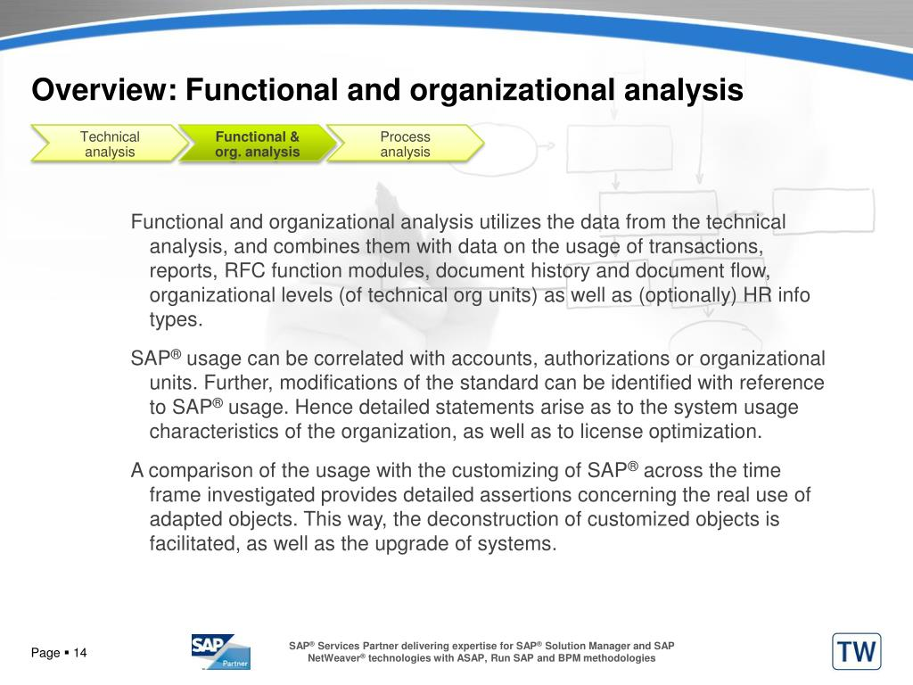 Overview: Functional and organizational analysis