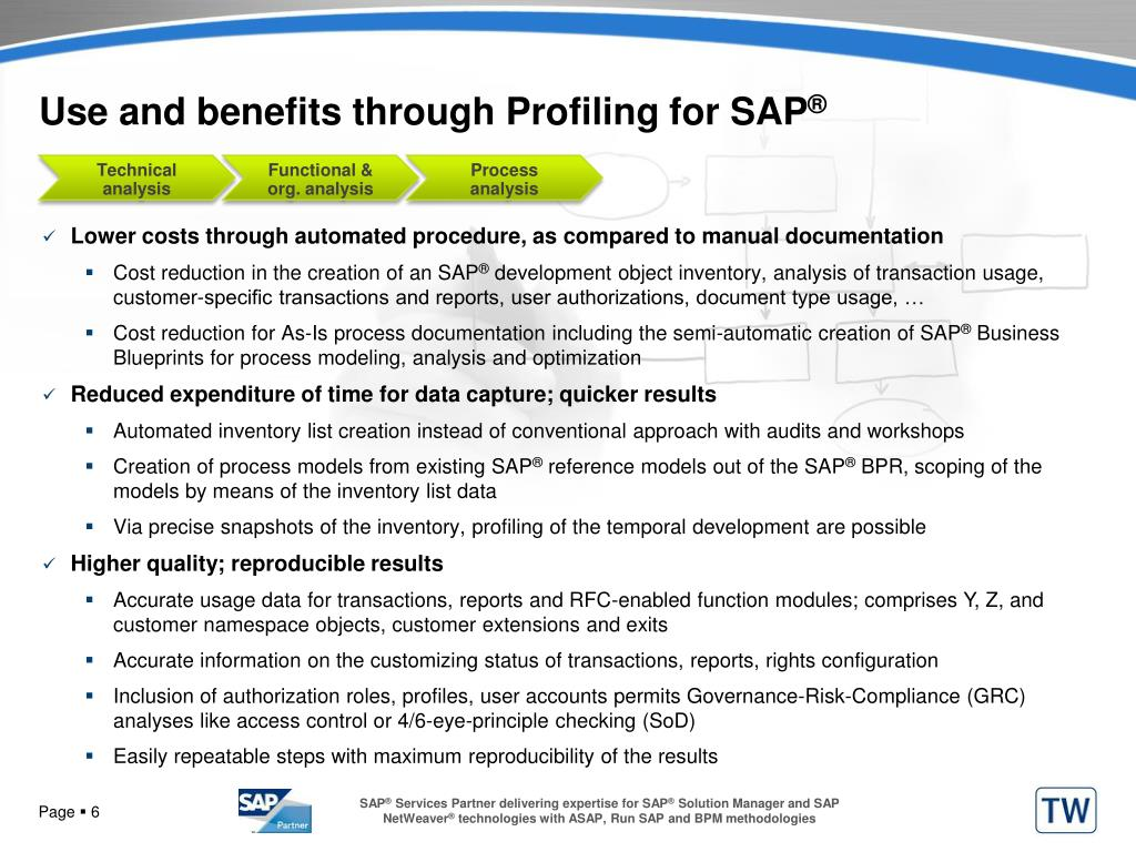 Use and benefits through Profiling for SAP