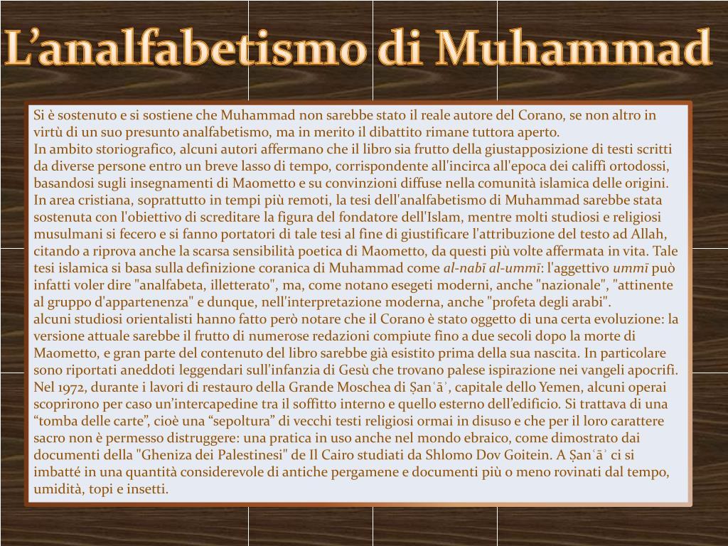 L'analfabetismo di Muhammad