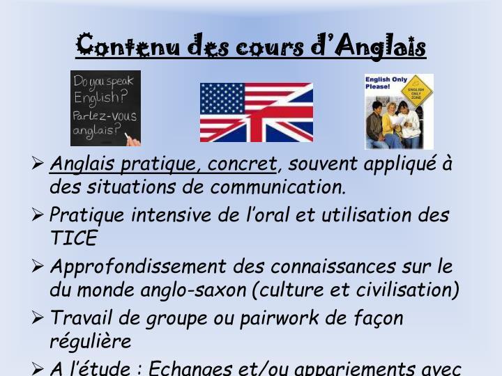 Contenu des cours d'Anglais
