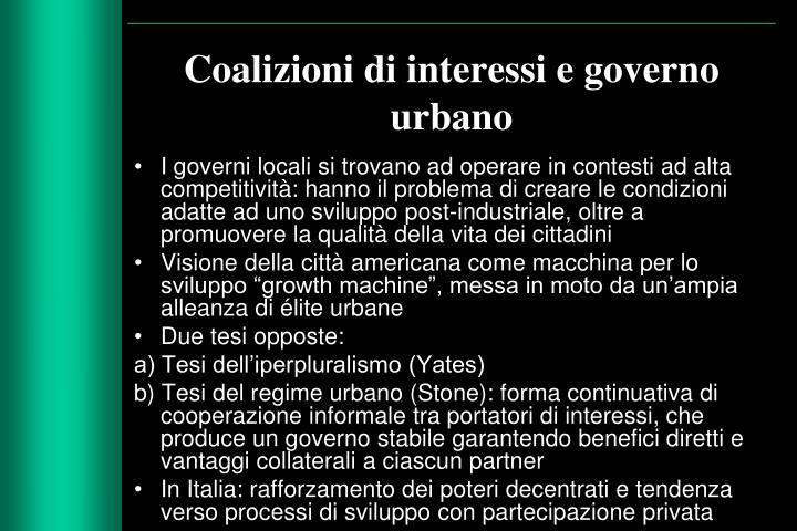 Coalizioni di interessi e governo urbano