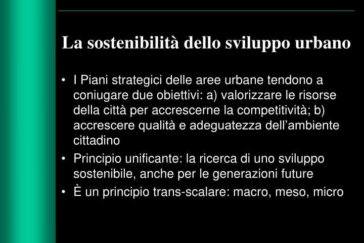 La sostenibilità dello sviluppo urbano
