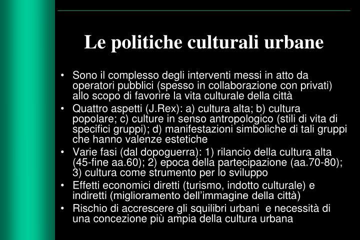 Le politiche culturali urbane