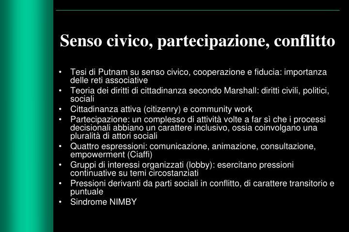 Senso civico, partecipazione, conflitto