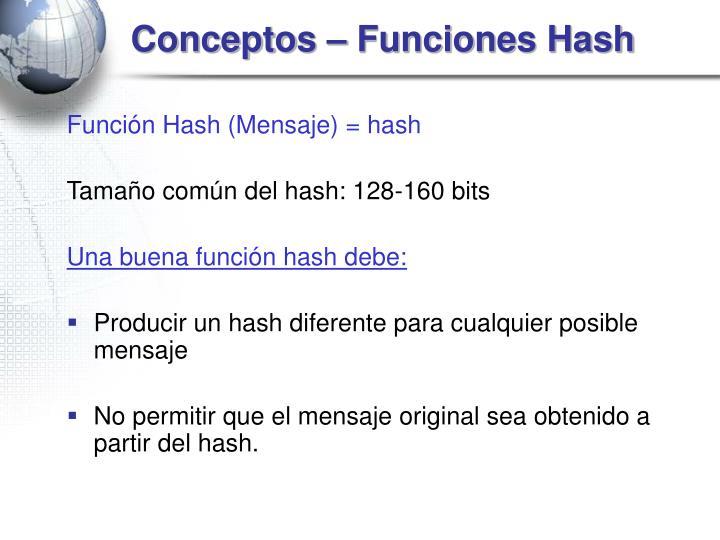 Conceptos – Funciones Hash