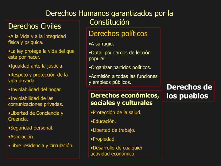 Derechos Humanos garantizados por la Constitución