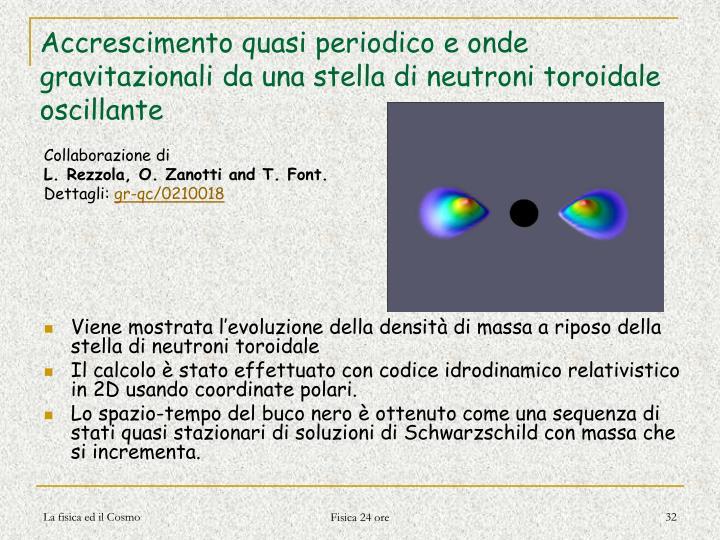 Accrescimento quasi periodico e onde gravitazionali da una stella di neutroni toroidale oscillante