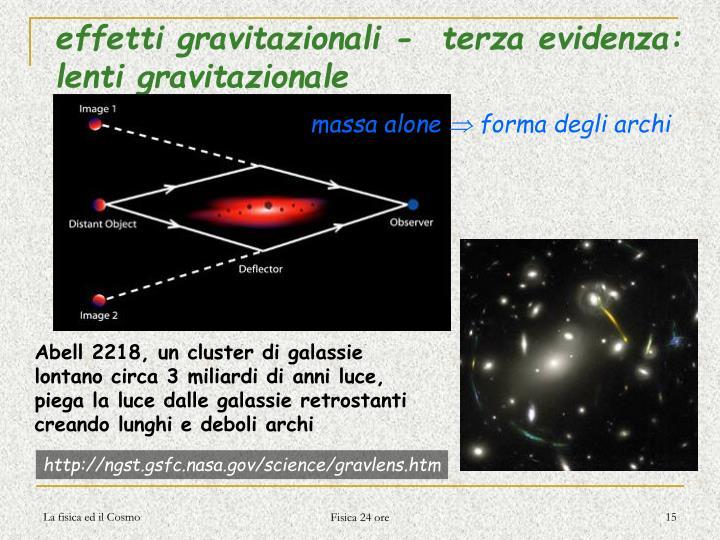 effetti gravitazionali -  terza evidenza: