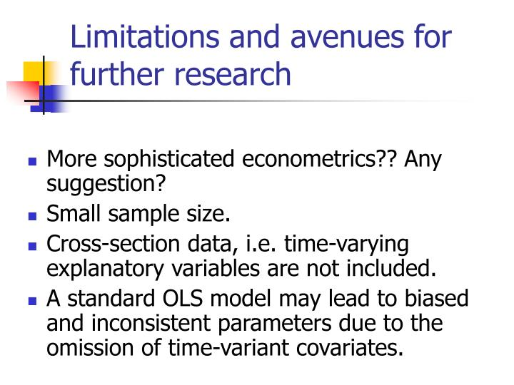 Limitations and avenues for further research