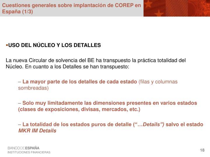 Cuestiones generales sobre implantación de COREP en España (1/3)