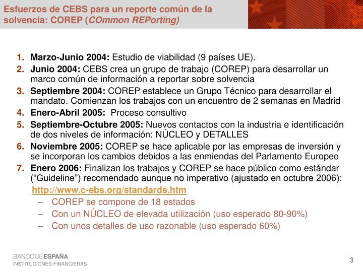 Esfuerzos de CEBS para un reporte común de la solvencia: COREP (