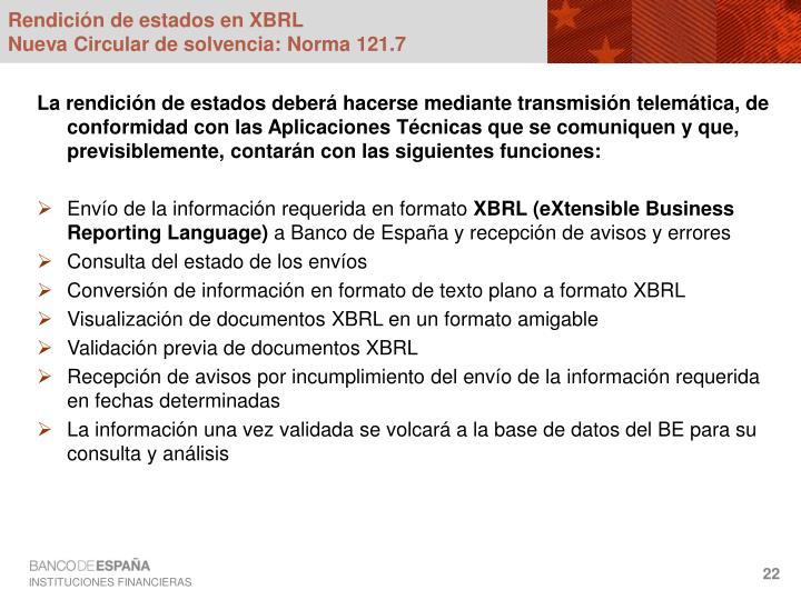 Rendición de estados en XBRL