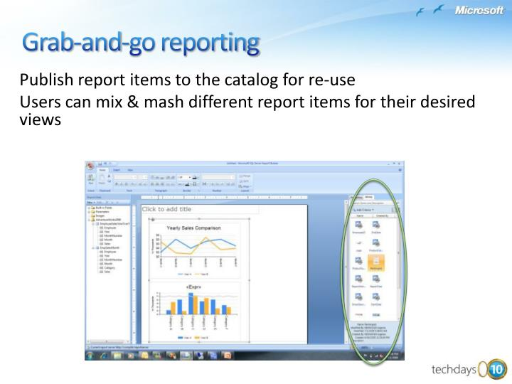 Publish report items to the catalog for re-use