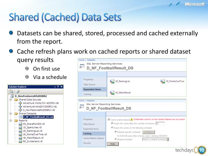 Datasets can be shared, stored, processed and cached externally from the report.