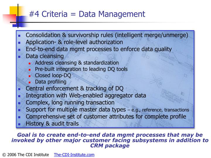 #4 Criteria = Data Management