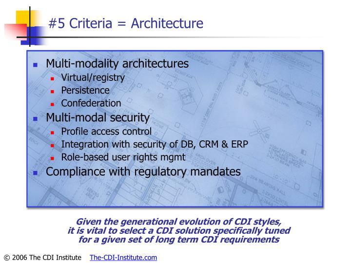 #5 Criteria = Architecture