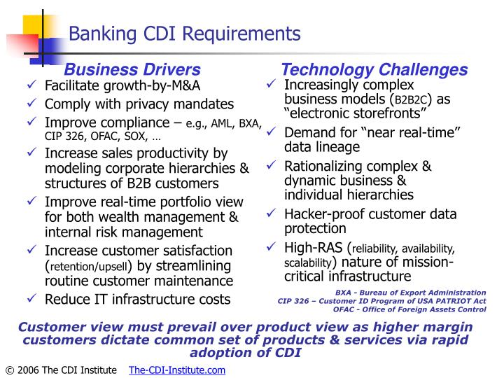 Banking CDI Requirements
