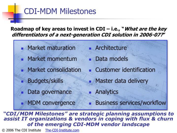 CDI-MDM Milestones