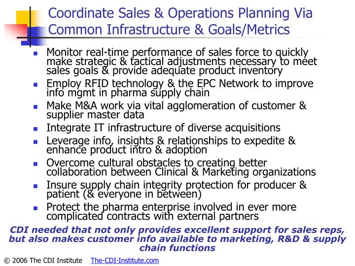 Coordinate Sales & Operations Planning Via Common Infrastructure & Goals/Metrics
