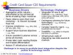 credit card issuer cdi requirements