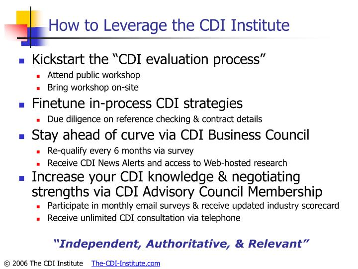 How to Leverage the CDI Institute