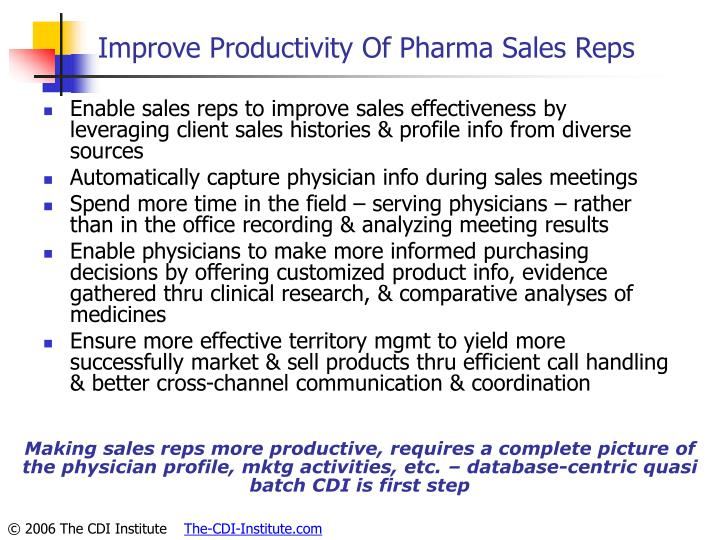 Improve Productivity Of Pharma Sales Reps