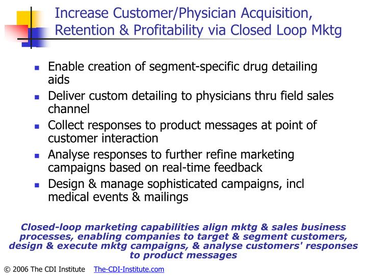 Increase Customer/Physician Acquisition, Retention & Profitability via Closed Loop Mktg