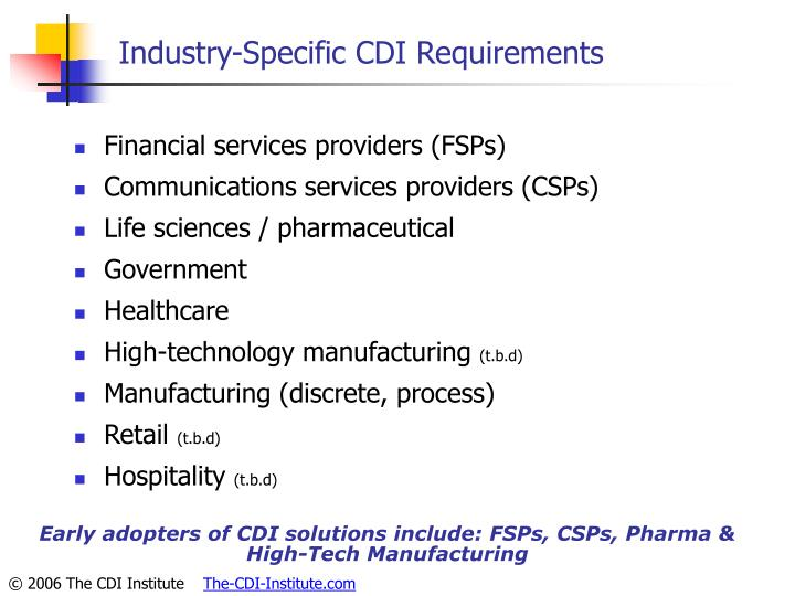 Industry-Specific CDI Requirements