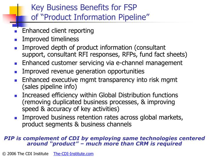 Key Business Benefits for FSP