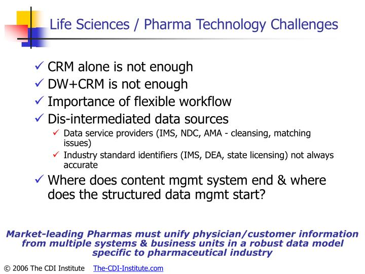 Life Sciences / Pharma Technology Challenges
