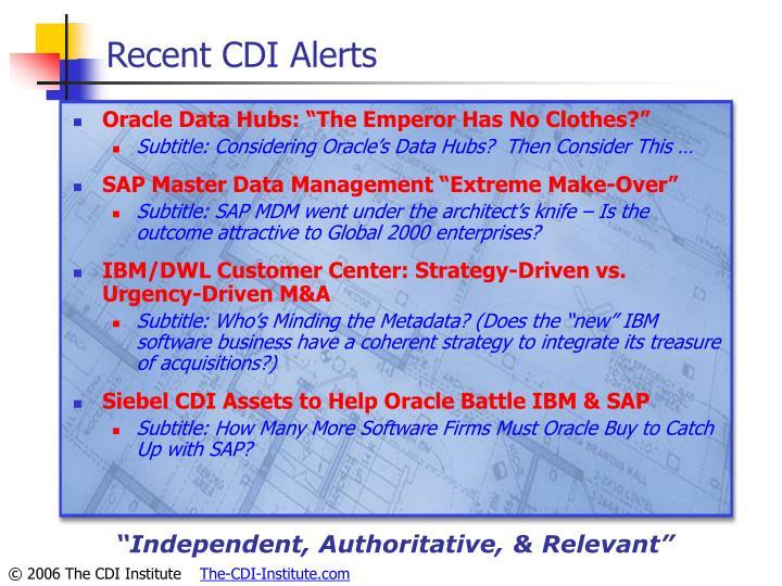 Recent CDI Alerts