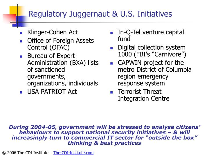 Regulatory Juggernaut & U.S. Initiatives
