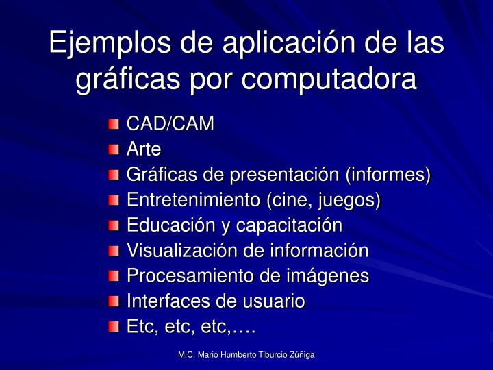 Ejemplos de aplicación de las gráficas por computadora
