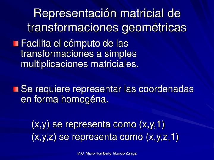 Representación matricial de transformaciones geométricas