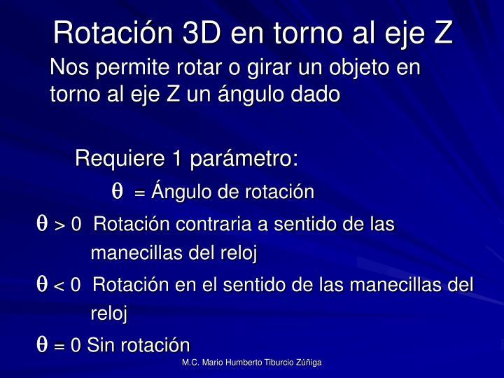 Rotación 3D en torno al eje Z